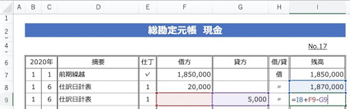 総勘定元帳をエクセルで作りたい!様式に必要な項目と記入例を解説!の画像4